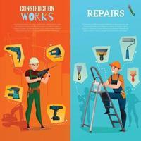 trabajadores de la construcción banners verticales vector