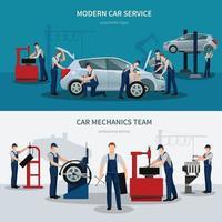 car service flat compositions vector