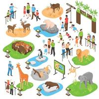 isometric zoo big set vector
