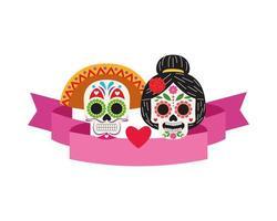 couple of head skulls for dia de los muertos icon vector