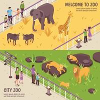 Banners horizontales de zoológico isométrico vector