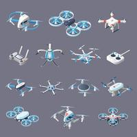 Drones isometric icons with unmanned aircrafts vector