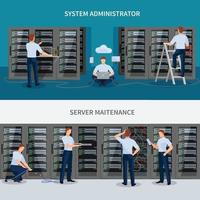 network engineer IT administrator compositions flat vector
