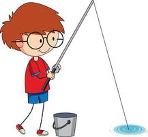 A doodle boy fishing cartoon character isolated vector