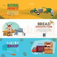flour production horizontal banners vector