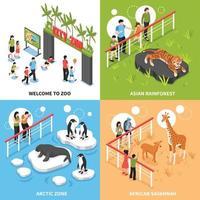 isometric zoo design concept vector