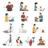 servicio de aseo veterinario gato set vector