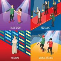 Talents and awards TV shows isometric 2x2 vector