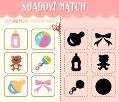 Shadow match game for kids vector