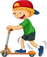 un niño montando un personaje de dibujos animados de scooter sobre fondo blanco vector