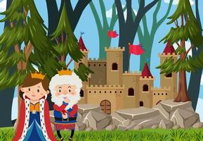 Outdoor castle scene with king and queen cartoon character vector