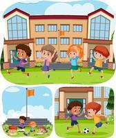 Set of kids at school background vector