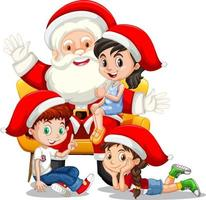 Santa Claus sitting on his lap with many kids on white background vector