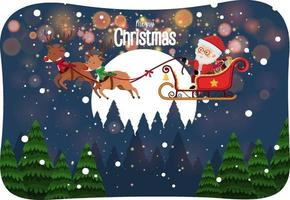 Merry Christmas font with Santa Claus on a sleigh in snow scene vector
