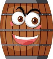 Barril de madera con expresión facial sobre fondo blanco. vector