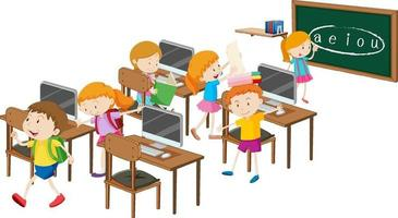Students with computer classroom elements on white background vector