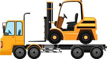 Tow truck carrying forklift isolated background vector