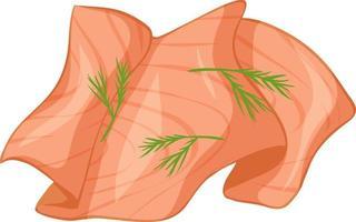 salmón cortado con eneldo aislado vector