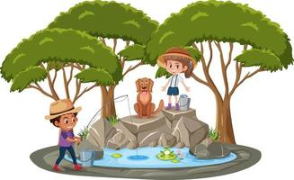 Isolated scene with children fishing at the pond vector