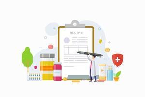 El médico escribe la firma en la receta para la ilustración de vector de concepto de diseño de paciente