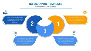 Three Steps Business Infographic Template With Business Icons vector
