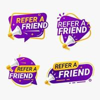 Refer a friend banner label badge set vector illustration