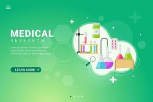 Fondo de investigación médica para la ilustración de vector de concepto de diseño de plantilla de página de destino