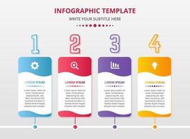 plantilla de pasos de infografía rectángulo colorido vector