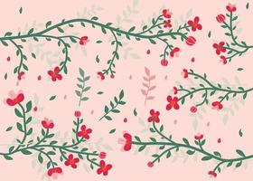 Floral Branches and Leaves Pattern Background vector