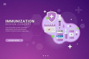 Vaccine background for vaccination landing page template design concept vector illustration