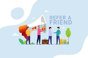 People shout on megaphone with Refer a friend and get rewarded