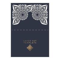 Wedding card laser cut template vector