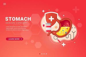Fondo de tratamiento de estómago para la ilustración de vector de concepto de diseño de plantilla de página de destino