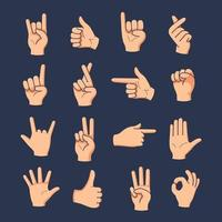 Set of different gestures hand with hand drawn vector illustration