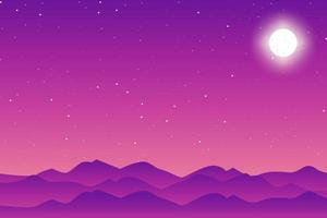 Flat Moon and Stars Vector Background