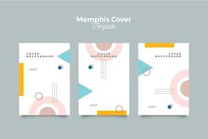 Modern memphis colorful cover template vector