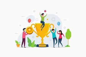 Teamwork success achievement get big award trophy vector illustration Concept
