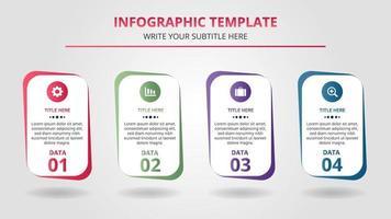 Plantilla de infografía de pasos comerciales coloridos con cuatro opciones vector