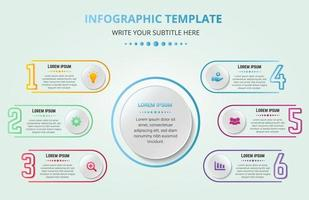 Colorful Creative Business Infographic 6 Steps Template vector
