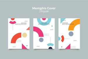 Abstract memphis colorful cover template vector