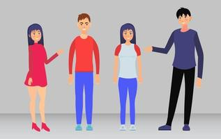 Group of People Standing and Smiling vector