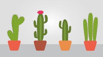 paquete de cactus dibujados a mano en macetas vector