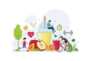 deporte y comida orgánica para el concepto de diseño de estilo de vida saludable vector