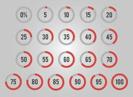 Set of Circles Percentage for Infographics vector