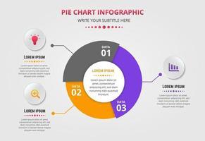 Plantilla de infografía de gráfico circular con tres opciones.