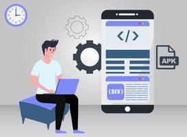Ilustración del concepto de desarrollo de aplicaciones vector