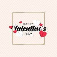 Valentines day background in soft colour paper style vector