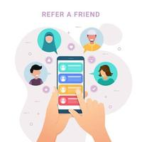 Hands holding phone with contacts for Refer a friend design concept