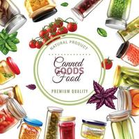 canned goods food frame illustration