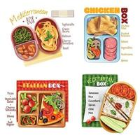 boxed lunch design concept vector
